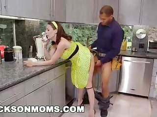 Insane housewife and 2 dark-hued plumbers are having a three-way in her kitchen and in her bedroom