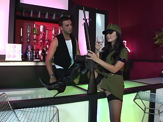 Army girl Kiara Diane seduces and rides a stranger at a bar