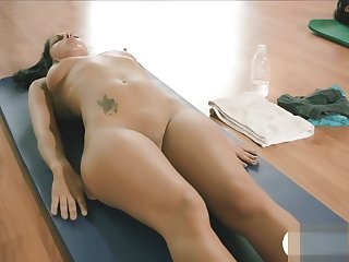 Nasty lady and trainer hot yoga session while naked