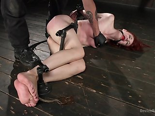 Submissive redhead ends up spanked merciless and fucked in the ass