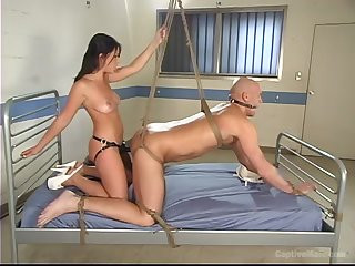 Hairless guy enjoys BDSM game with Penny Flame before hard fuck