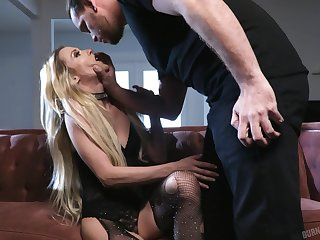 GF in ripped fishnet pantyhose Aiden Ashley gets fucked hard