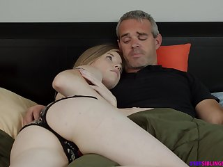 Naughty step daughter Nikki Sweet rides her step dad strong cock