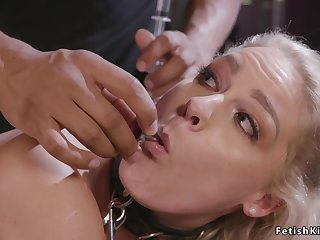 Blond Hair Babe with hands behind back orgy had sex
